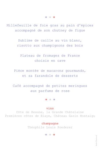 Menu de mariage Paris bleu gris rouge