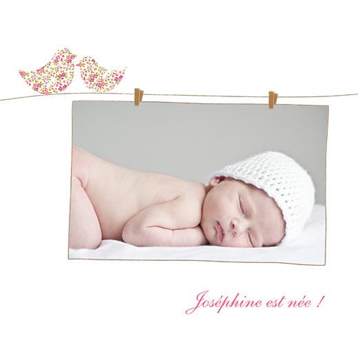 Faire-part de naissance Poétique 3 photos rose