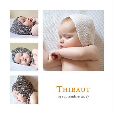 Faire-part de naissance Classique 4 photos blanc finition