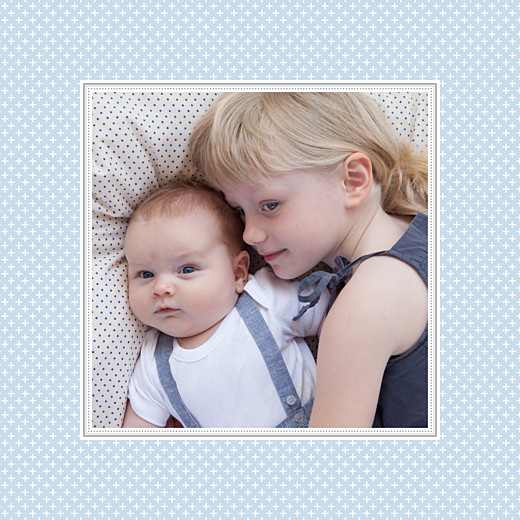 Faire-part de naissance Motif chic 2 photos bleu dragée
