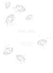 Livret de messe mariage Envolée blanc & gris