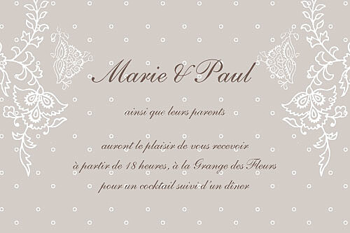 Carton d'invitation mariage Plumetis taupe gris - Page 1