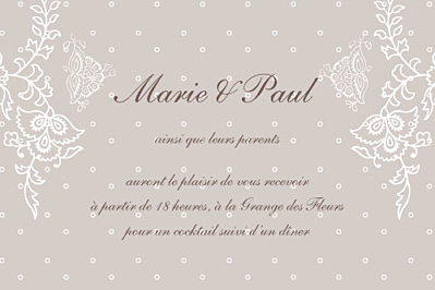 Carton d'invitation mariage Plumetis taupe gris finition