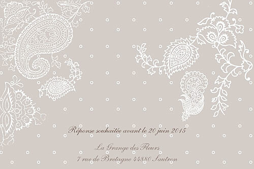 Carton d'invitation mariage Plumetis taupe gris - Page 2