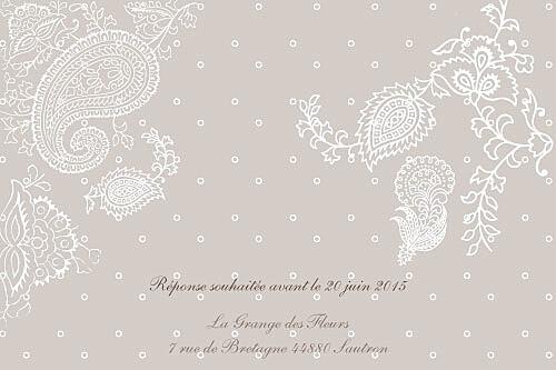 Carton d'invitation mariage Plumetis taupe gris