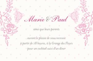 Carton d'invitation mariage Plumetis framboise