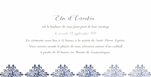 Faire-part de mariage Grâce blanc bleu - Page 3