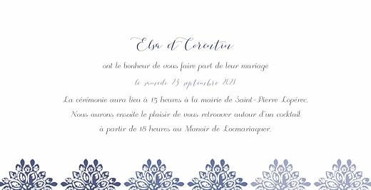 Faire-part de mariage Grâce blanc bleu