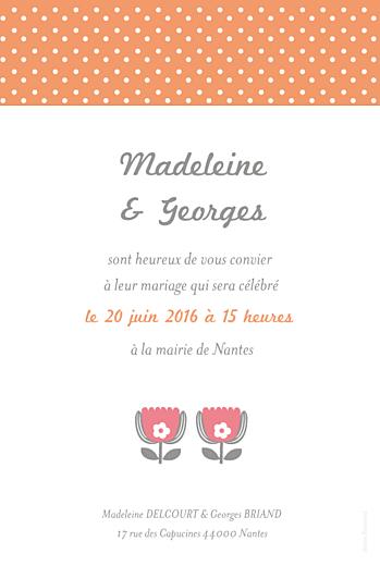 Faire-part de mariage Seventies orange rose