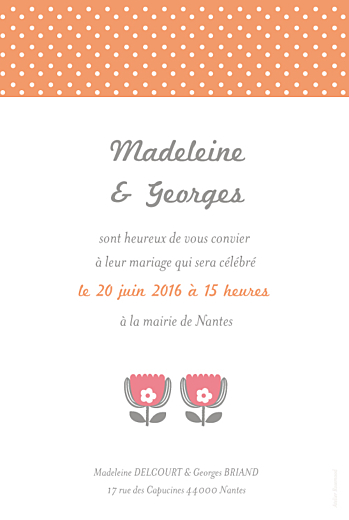 Faire-part de mariage Seventies orange rose - Page 2