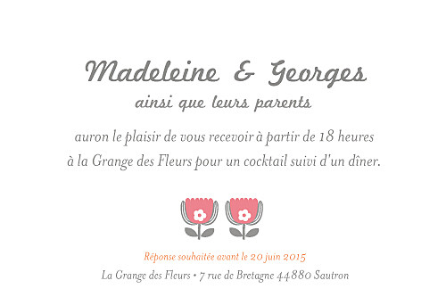 Carton d'invitation mariage Seventies orange rose