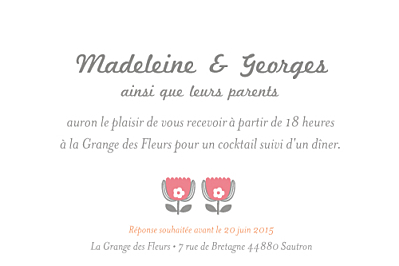 Carton d'invitation mariage Seventies orange rose finition