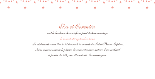 Faire-part de mariage Hollywood corail - Page 3