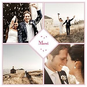 Carte de remerciement mariage violet bouquet 4 photos rouge