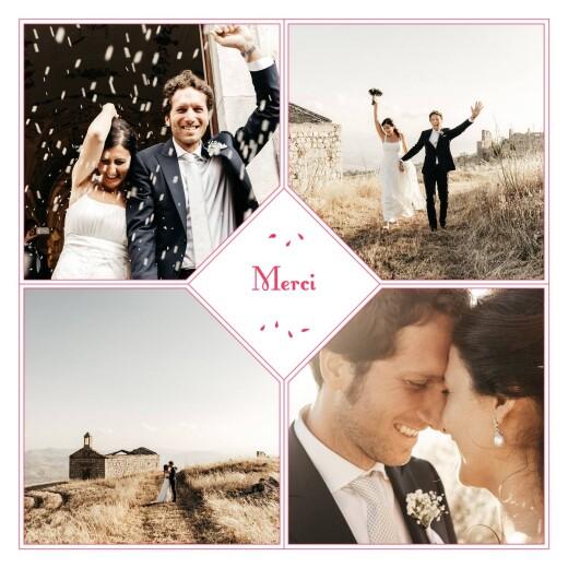 Carte de remerciement mariage Grand bouquet 4 photos rouge