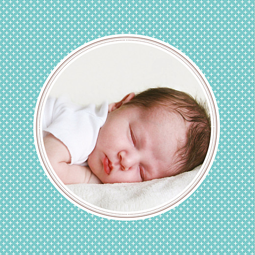 Faire-part de naissance Motif chic médaillon turquoise