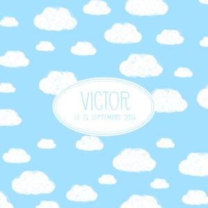 Faire-part de naissance Petits nuages écusson bleu