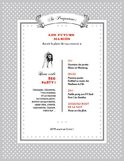 Faire-part de mariage Festival 4 pages gris