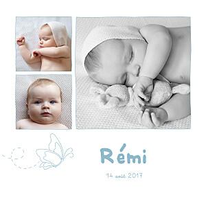 Faire-part de naissance jumeaux origami papillon 5 photos bleu