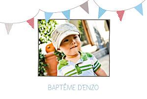 Faire-part de baptême Fanions paysage photo taupe