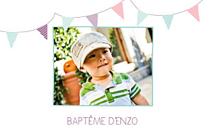 Faire-part de baptême Fanions paysage photo turquoise