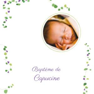 Faire-part de baptême Capucine violet