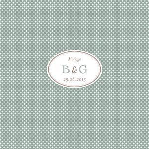 Faire-part de mariage Motif chic (4 pages) vert de gris