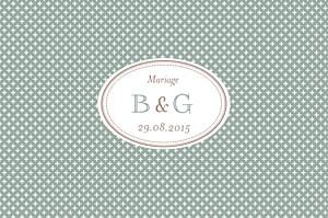 Carton d'invitation mariage Motif chic vert de gris