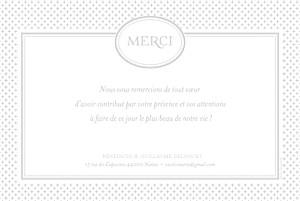 Carte de remerciement mariage Motif chic gris