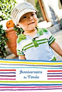 Carte d'anniversaire Dessin lignes bleu