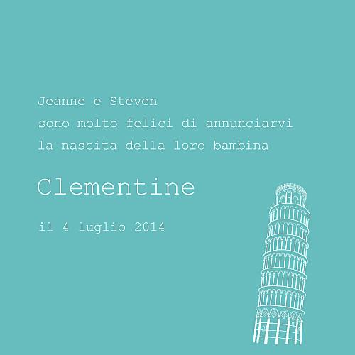 Faire-part de naissance Bilingue italie photo turquoise - Page 3