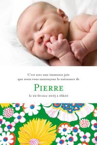 Faire-part de naissance Tissu floral vert