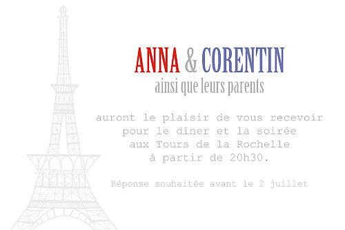 Carton d'invitation mariage Paris bleu gris rouge
