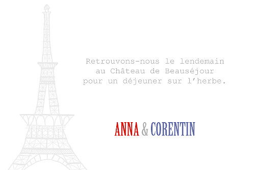 Carton d'invitation mariage Paris bleu gris rouge - Page 2