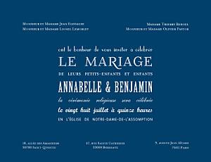 Faire-part de mariage marion bizet le plus beau jour bleu marine