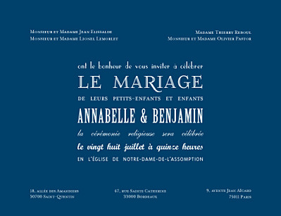Faire-part de mariage Le plus beau jour bleu marine finition