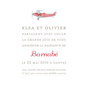 Faire-part de naissance Avion photo blanc & rouge
