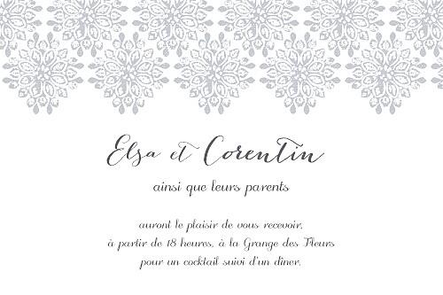 Carton d'invitation mariage Grâce gris