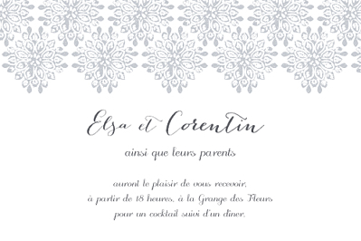 Carton d'invitation mariage Grâce gris finition