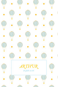 Faire-part de naissance Montgolfière (4 pages) jaune bleu