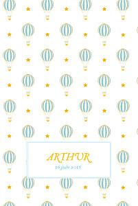 Faire-part de naissance rouge montgolfière (4 pages) jaune bleu