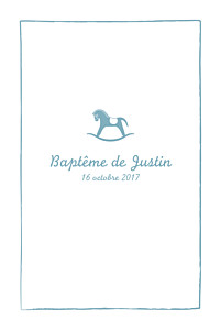 Menu de baptême Petit cheval bleu