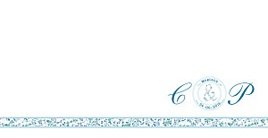Faire-part de mariage liberty ruban liberty bleu