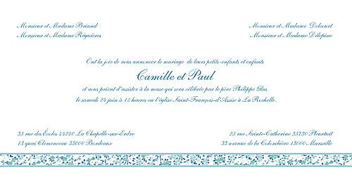 Faire-part de mariage Ruban liberty bleu - Page 3