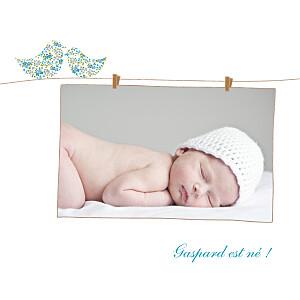 Faire-part de naissance fille poétique photo bleu