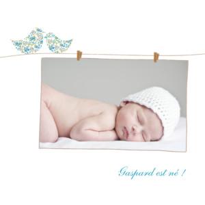 Faire-part de naissance Poétique photo bleu