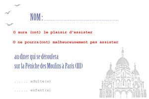 Carton réponse mariage Paris bleu-rouge-gris