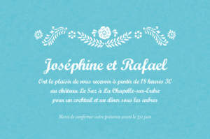 Carton d'invitation mariage Papel picado turquoise