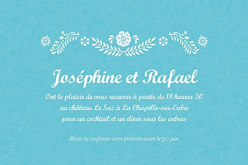 Carton d'invitation mariage Papel picado turquoise