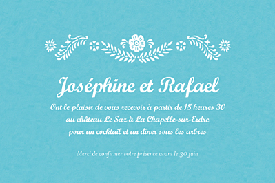 Carton d'invitation mariage Papel picado turquoise finition